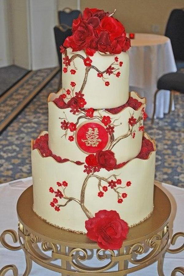Red Double Happiness Wedding Cake,