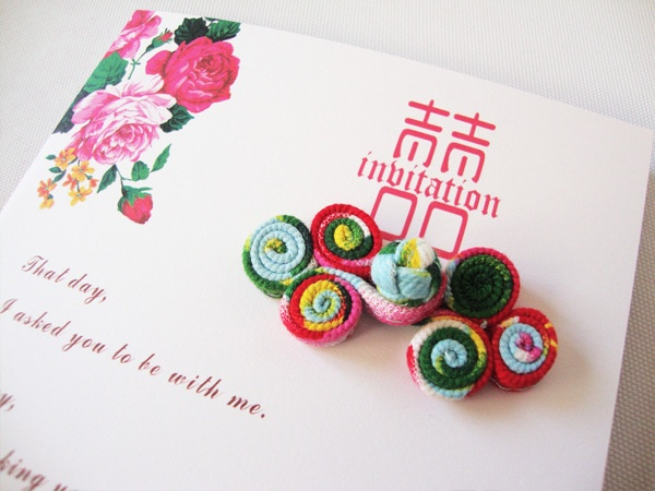 Chinese Wedding Invitation Fabric Flowers,