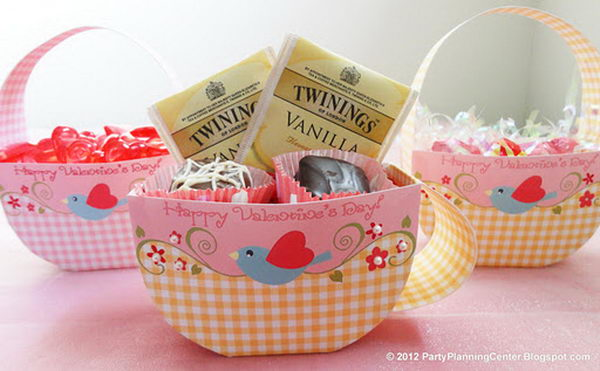 Teacup Printable Valentine Favor Box,