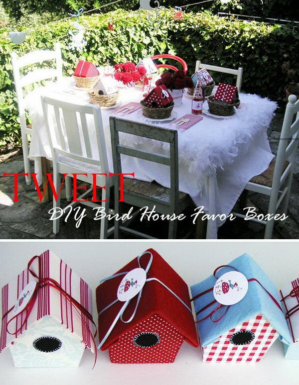 DIY Bird House Favor Boxes,
