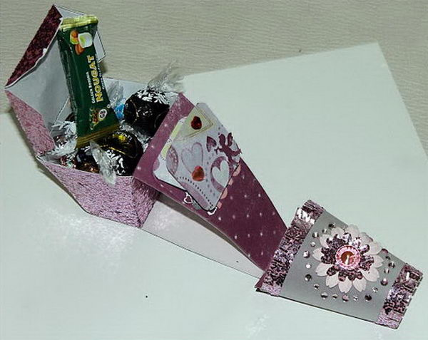 Shoe Shaped Candy Holder. This a very girly candy box in pink, shaped like a high heel.