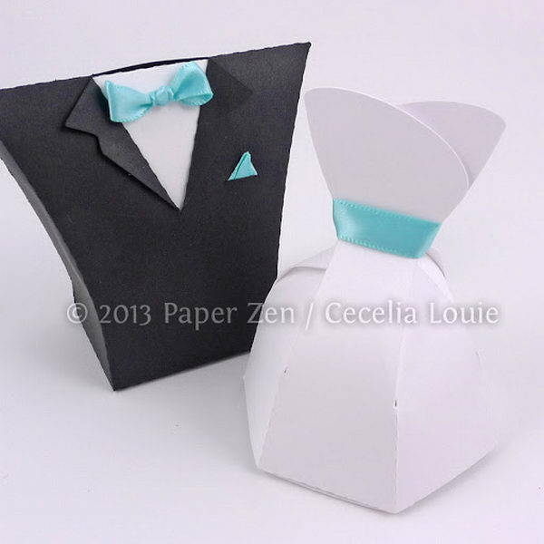 Bride Dress and Groom Tuxedo Party Favor Boxes,