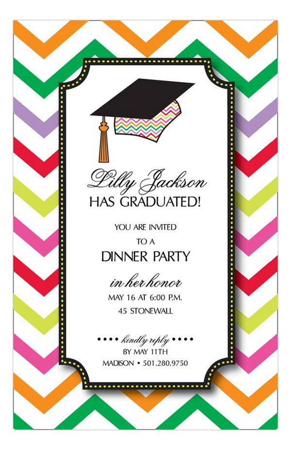 Chevron Grad Cap Invitation,