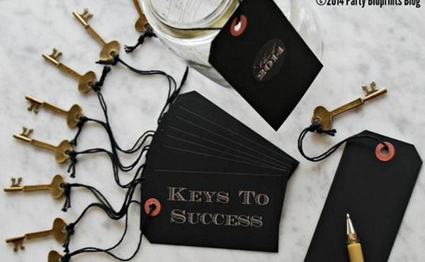 Keys to Success Graduation Party Favor. Write down some pieces of advice or inspirational messages that the graduate can read later. It will make for a keepsake he or she can have forever.