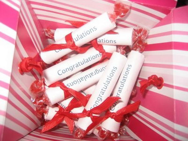 Scroll Graduation Favor. This has got to be the cutest and simplest little favor to make.