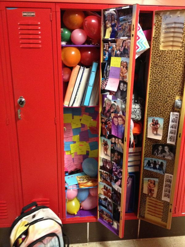 Balloons and Post its in Locker. Decorate your best friends locker with balloons and post its with memories on it.