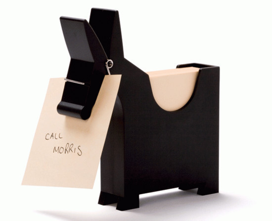 Morris the Memo Holder. When you need to remember something you simply pop it on a note and then stick it in Morris The Memo's mouth so he can remind you in his friendly way every time you walk past.