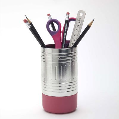 Pencil End Cup. This desktop appliance can store your stationery and other office supply either in two separate cans, or as one can with a lid.