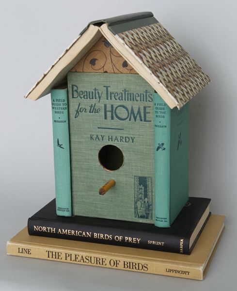 Birdhouse Made from Old Books,