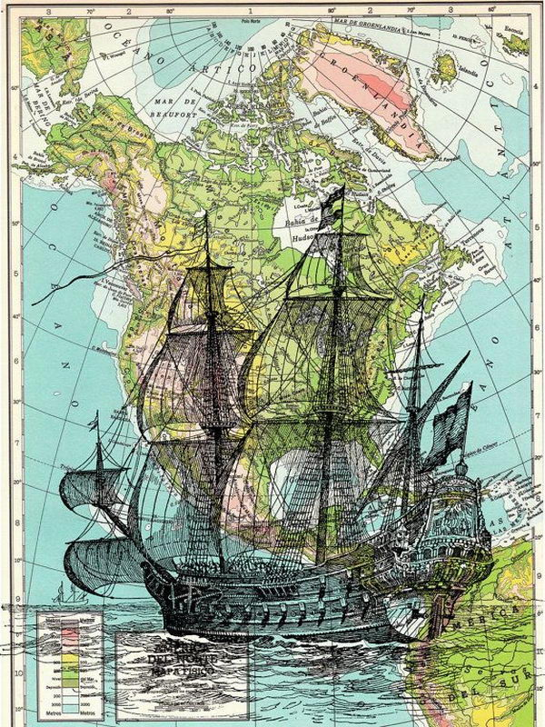Ship on Map Book Art. Vintage Ship print on a map sheet from a gorgeous Atlas book.