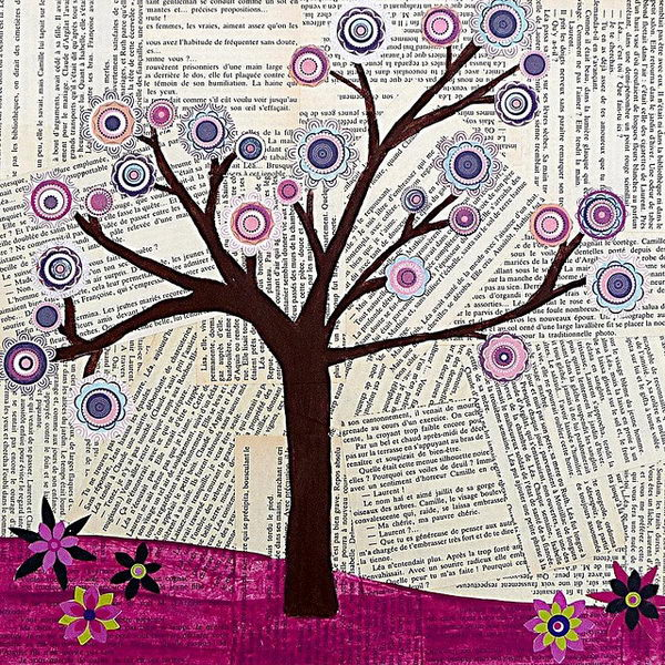 Tree Collage Art. Original Mixed Media Abstract Tree Collage Art Painting by Sascalia. Could vary the background with sheets of music, journal pages, old book pages.
