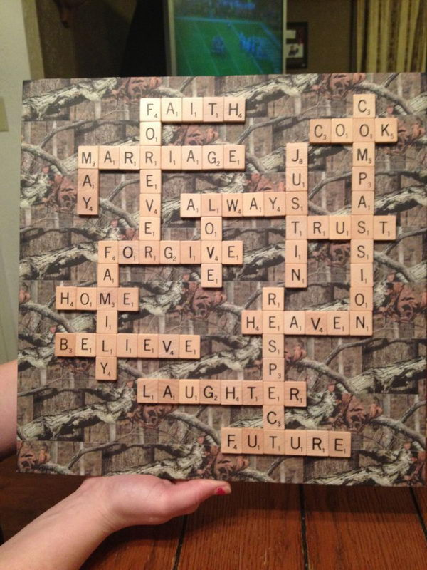 Camoflauge Scrabble Decor.