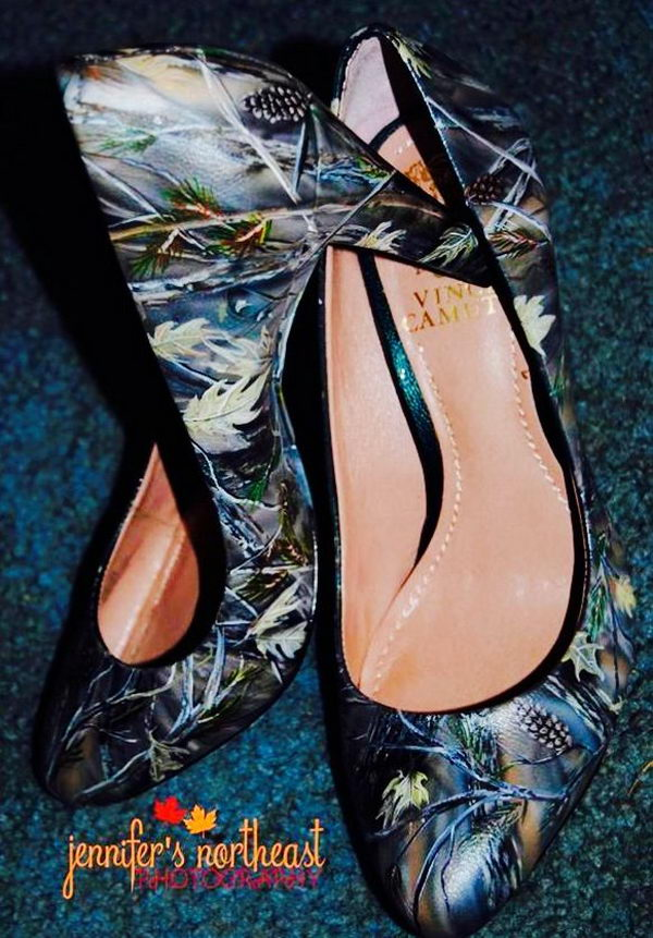 Hand painted camouflage wedding shoes.