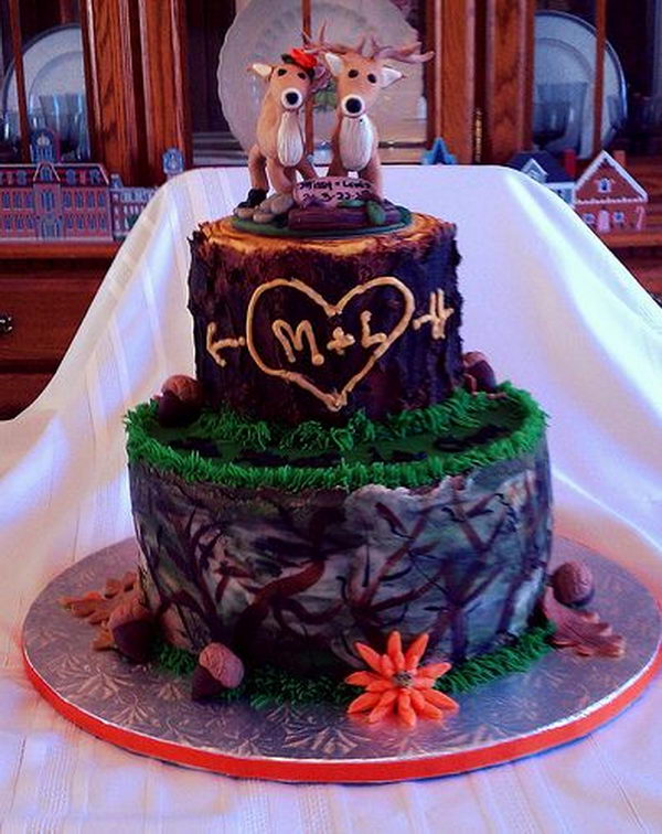 Deer Camo Wedding Cake.