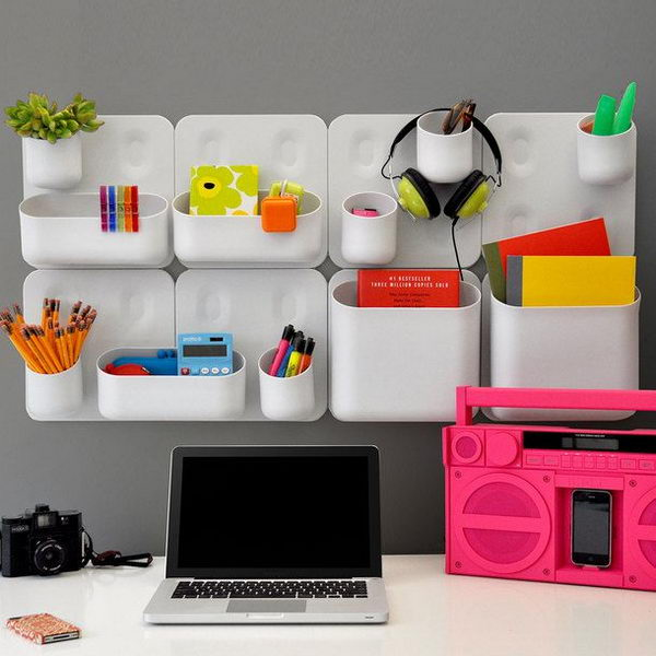 It's a good idea to have wall mounted modular storage containers for storage of personal items.