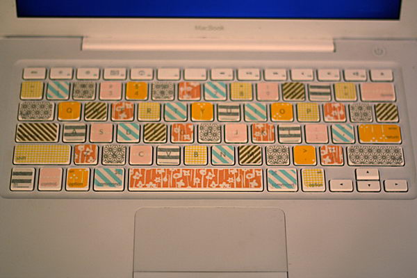 DIY Washi Tape Laptop Keyboard.