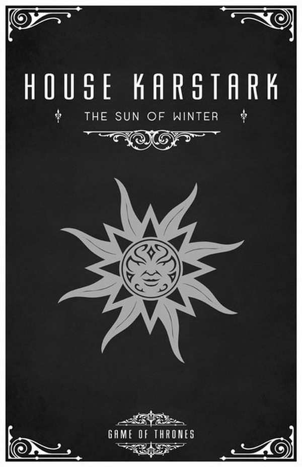 The Karstark sigil is a white sunburst on black. Their words are 'The Sun of Winter'. House Karstark is a vassal house that holds fealty to House Stark of Winterfell. Their lands are northeast of Winterfell.