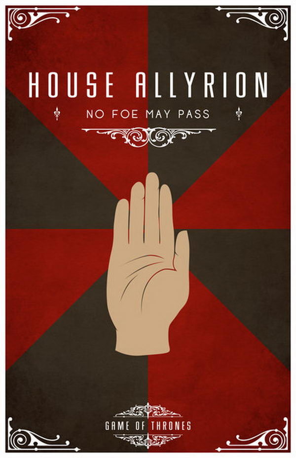 House Allyrion Motto. Their blazon is a golden hand on gyronny red and black. Their words do not appear in the books, but according to semi canon sources are 'No Foe May Pass'.