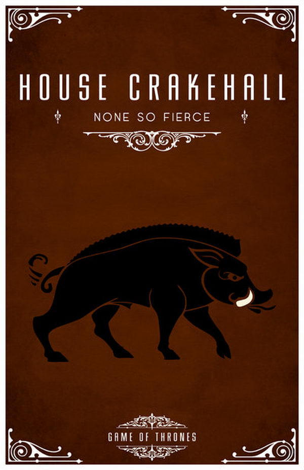 House Crakehall is a vassal house that holds fealty to House Lannister of Casterly Rock. The Crakehall sigil is a black and white brindled boar on brown. Their motto is 'None So Fierce'.