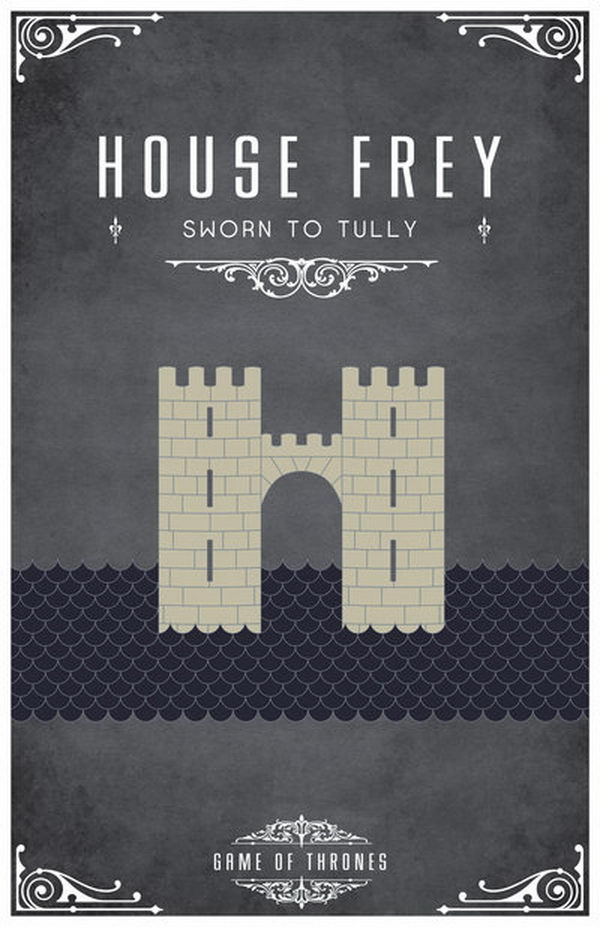 House Frey. The symbol of House Frey is two grey towers linked by a bridge.