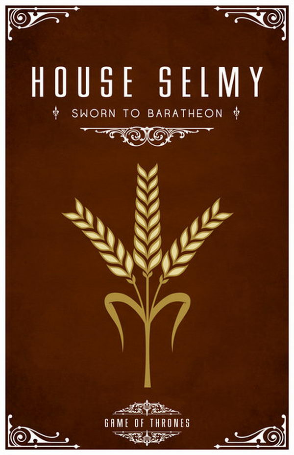 House Selmy. Their sigil is three stalks of yellow wheat on brown.