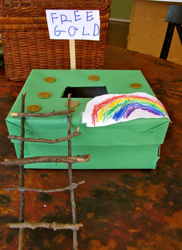 Shoe Box Leprechaun Trap. Cover a shoe box in green construction paper and make a ladder with sticks.