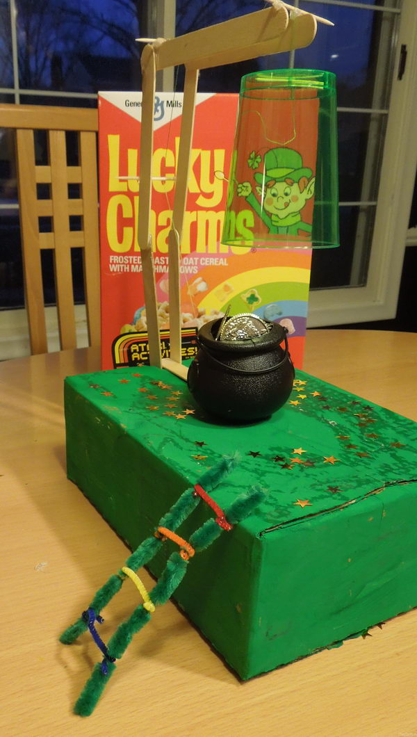 You can also build a little more complicated Leprechaun Trap, by including a simple machine, such as a lever, pulley, or wedge.