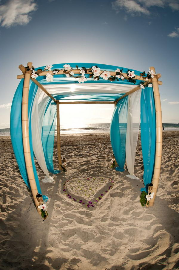 Bamboo Wedding Arch on Beach,