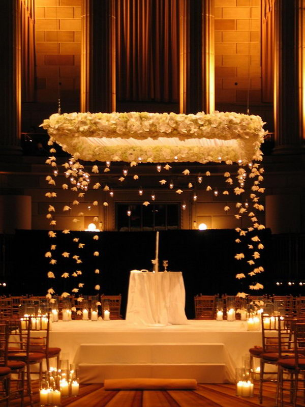 Romantic Wedding Chuppah. The floating flowers and candles would be a cute idea.