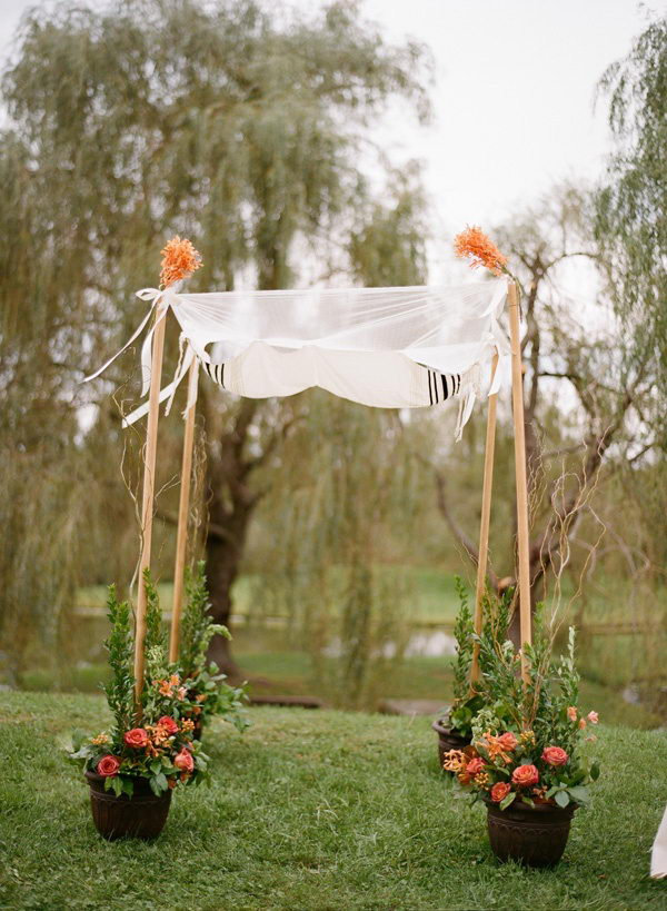 Potted Flowers Wedding Chuppah. I like how the potted flowers are holding up the poles.