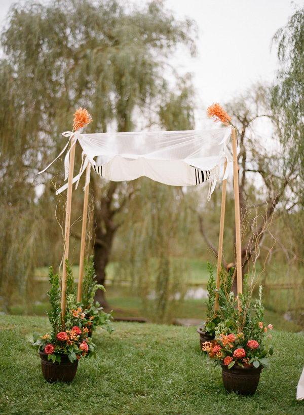Potted Flowers Wedding Chuppah. I like how the potted flowers are holding up the poles.