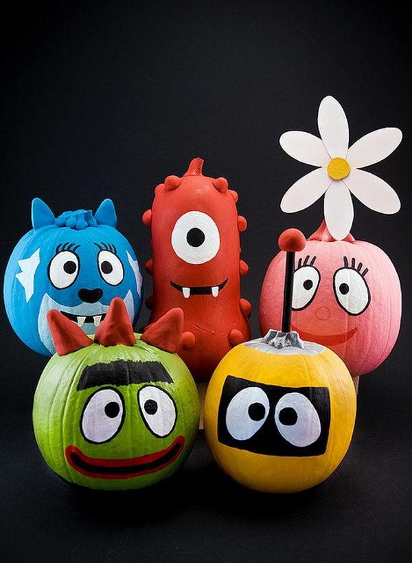 Yo Gabba Gabba Pumpkins.