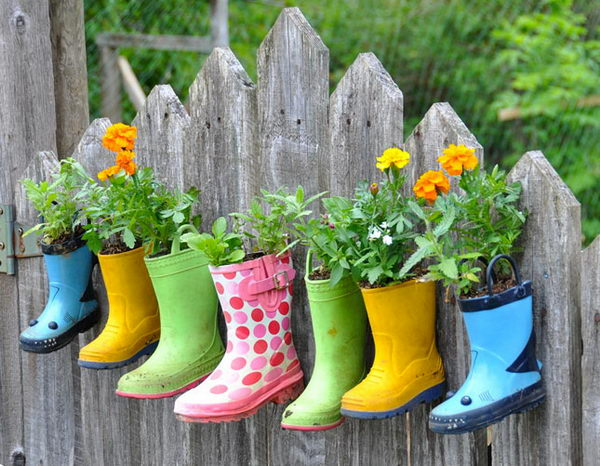 Hanging Garden Boots as DIY Planters.