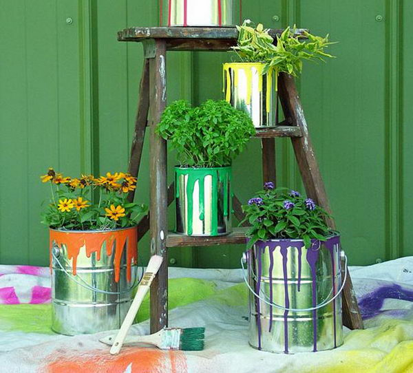 DIY Paint Can Planters.