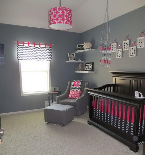 Navy Blue and Pink Nursery.