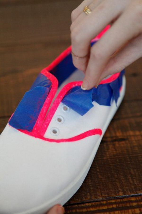Neon Lined Canvas Sneakers.