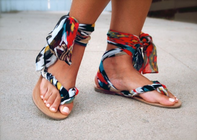 DIY Gladiator Wrap Sandals. Use ribbons to transform a pair of flip flops into a pair of tribal inspired gladiator sandals.