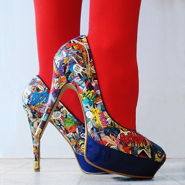 Comic Style Painted Shoes.