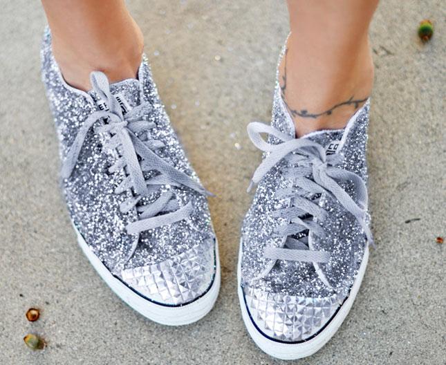 Homemade Glitter Shoes.