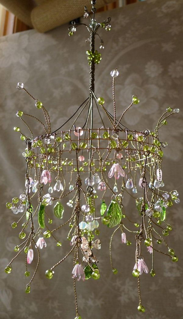 Dainty Pink Sunshower Chandelier.