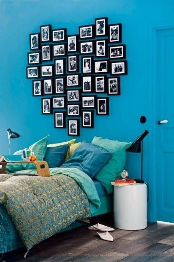 Heart Shape Photo Frames on Wall.