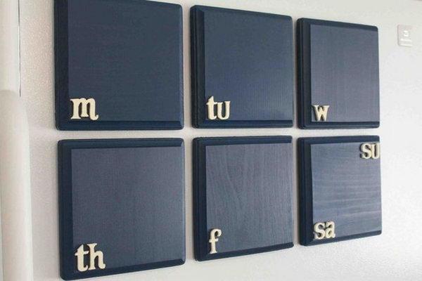 Magnetic Chalkboard Weekly Calendar.