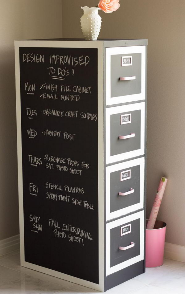 Chalkboard Paint File Cabinet Makeover.