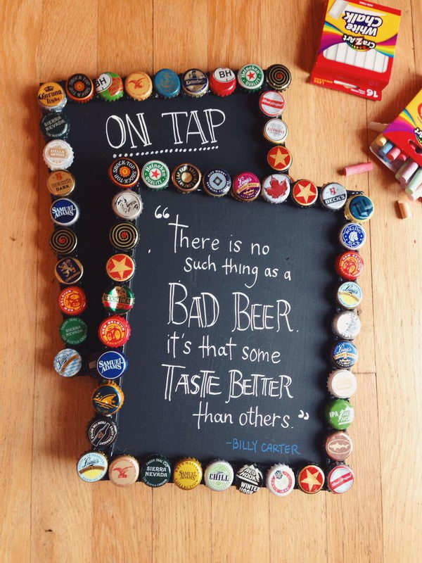 DIY Bottlecap Picture Frames with Chalkboard Paint.
