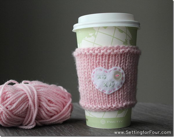 DIY crochet coffee cozy which keep coffee in cups warm while protecting fingers from the heat.