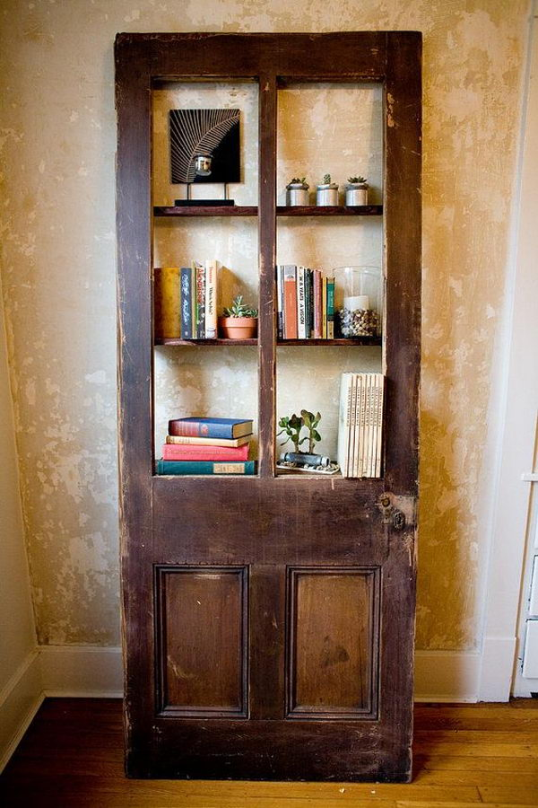 Repurposed Bookcase Made from Door.