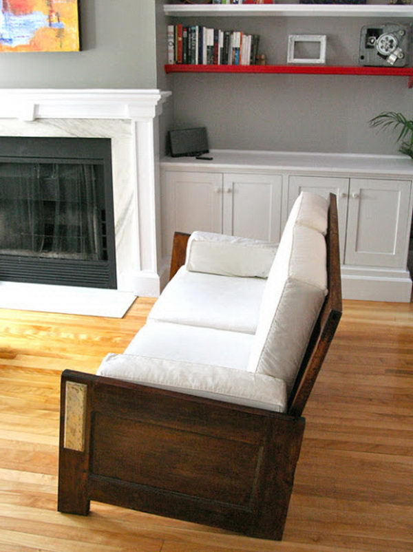 Repurposed Sofa Made from Door.