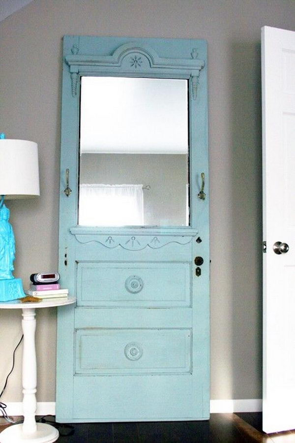 Repurposed Mirror Frame Made from Door.