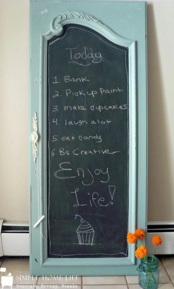 Repurposed Chalkboard Made from Door.