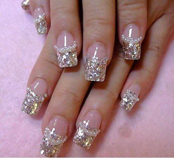 Glitter 3D Diamonds Nail Design, 3D nail art is a technique for decorating nails that creates three dimensional designs.